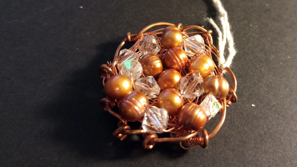 Fresh Water Pearls, Swarovski Crystals on a Front of Copper Wire woven pendant.