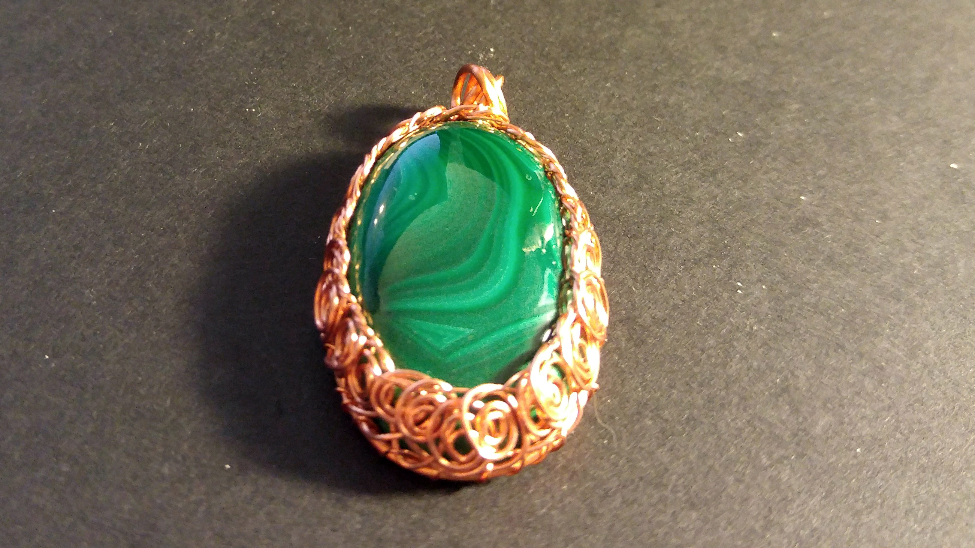 pendant copper orange ceramic pin swirl wire necklace